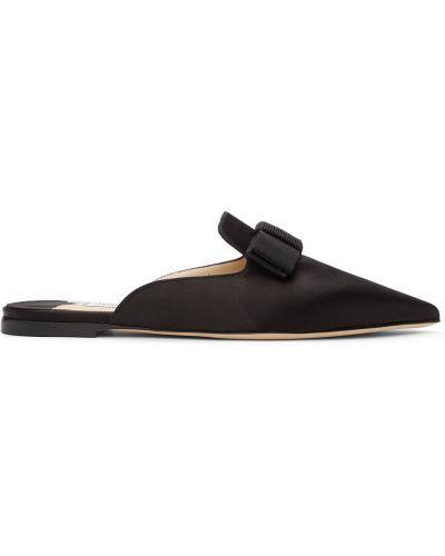Черные кожаные тапочки Jimmy Choo