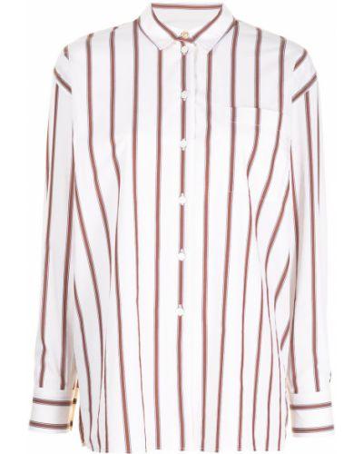 Шелковая белая классическая рубашка в полоску Paul Smith