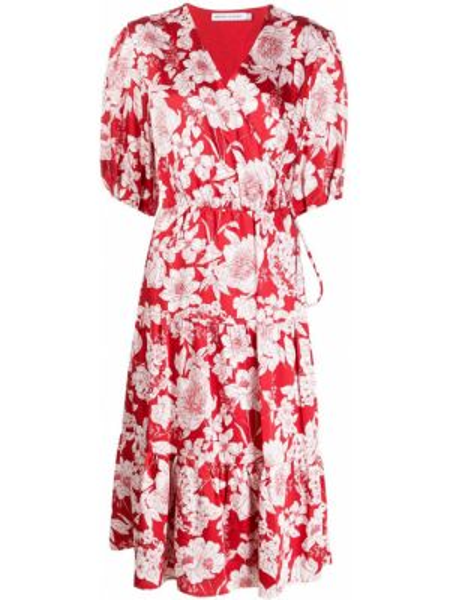 Красное платье миди с запахом с V-образным вырезом на молнии Rebecca Minkoff