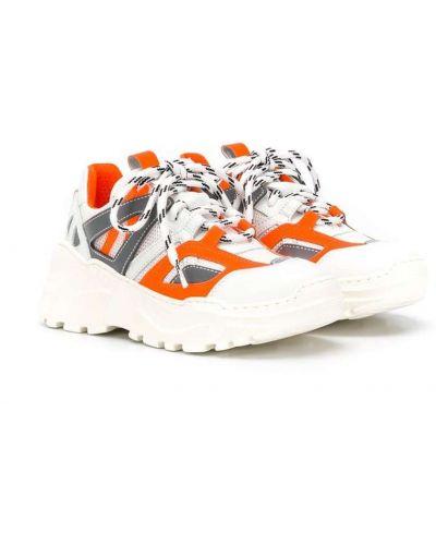 Кожаные белые кроссовки на шнуровке на платформе Cinzia Araia Kids