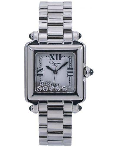 Спортивные белые кварцевые часы квадратные c сапфиром Chopard