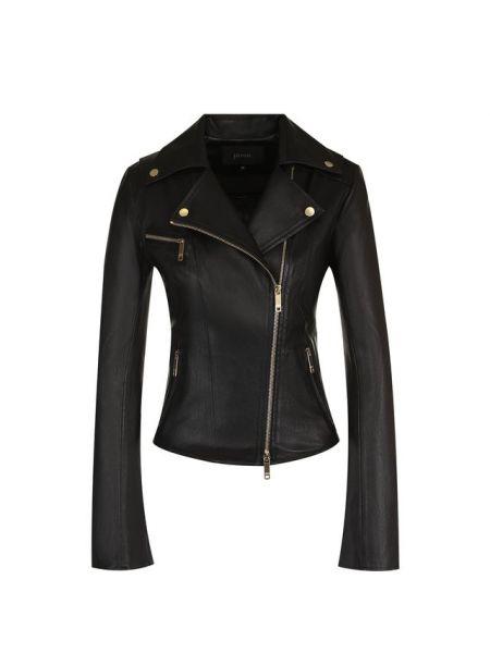 Вечерняя приталенная черная кожаная куртка на молнии Jitrois