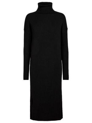 Czarna sukienka midi prążkowana S Max Mara