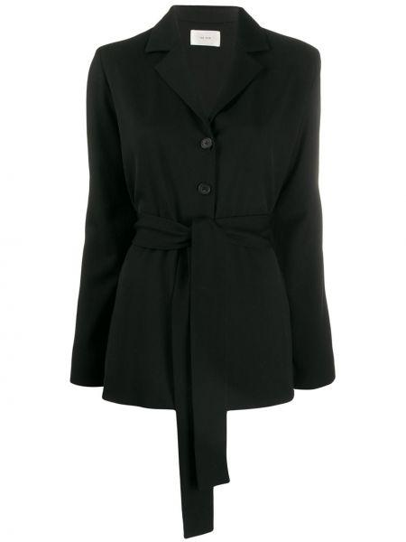 Шерстяной черный удлиненный пиджак с поясом The Row