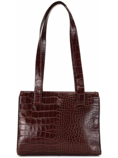 Коричневая сумка-тоут металлическая на молнии с карманами Versace Pre-owned