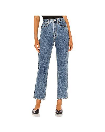 Хлопковые синие джинсы бойфренды с карманами на молнии Slvrlake