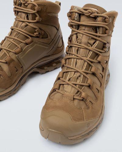 Кожаные высокие кроссовки - коричневые Salomon