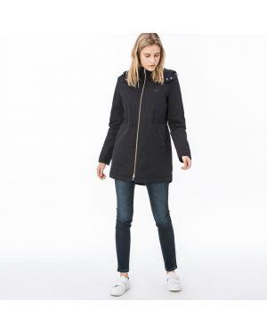Черная куртка с капюшоном на резинке на молнии с воротником Lacoste