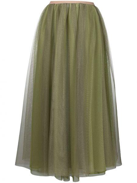 Zielony z wysokim stanem spódnica midi z falbankami za pełne Pinko