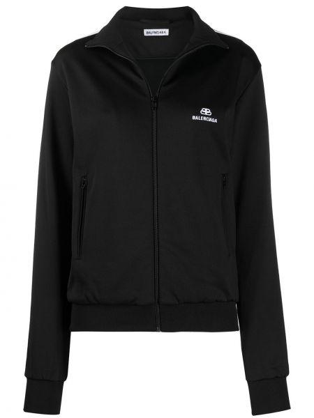 Прямая черная спортивная куртка на молнии с воротником Balenciaga