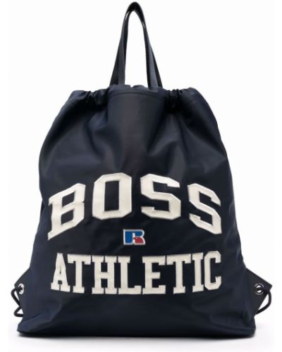 Biały plecak skórzany z printem Boss Hugo Boss
