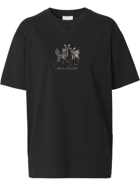 Хлопковая черная футболка с надписью Burberry