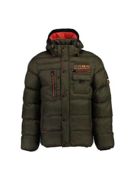 Черная куртка с капюшоном на пуговицах с капюшоном Geographical Norway