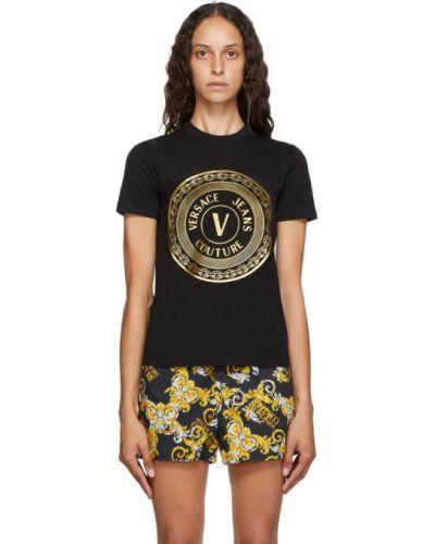 Хлопковая с рукавами белая джинсовая рубашка Versace Jeans Couture