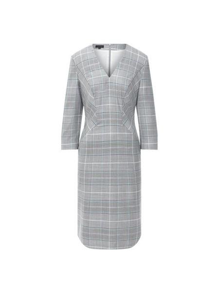 Шелковое серое платье с подкладкой Escada