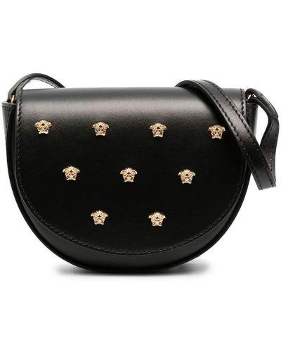 Черная кожаная сумка на плечо с подкладкой Young Versace