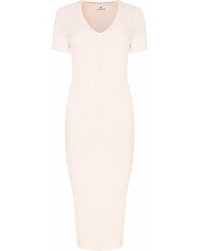 С рукавами трикотажное розовое платье миди Laroom