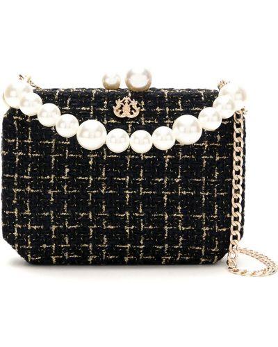 Золотистая черная сумка на цепочке металлическая с декоративной отделкой Isla