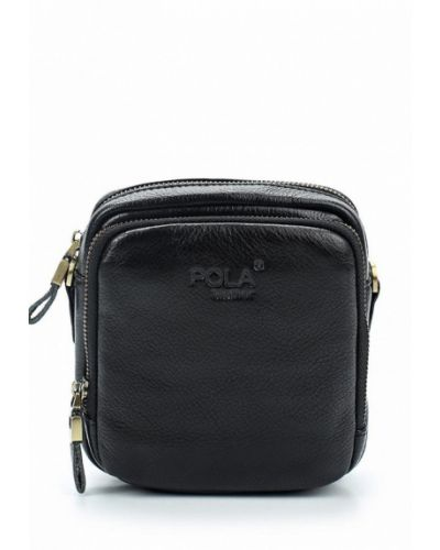 Черная кожаная сумка через плечо Pola