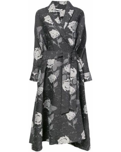 Черное длинное пальто с капюшоном на пуговицах Co