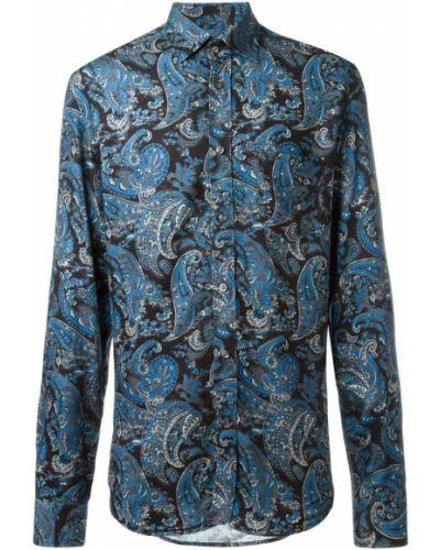 Синяя рубашка с узором пейсли из вискозы Diesel