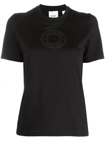 Bawełna czarny prosto koszula z krótkim rękawem okrągły dekolt Burberry