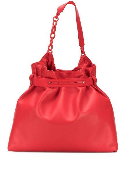 Красный кожаный топ на молнии Lanvin