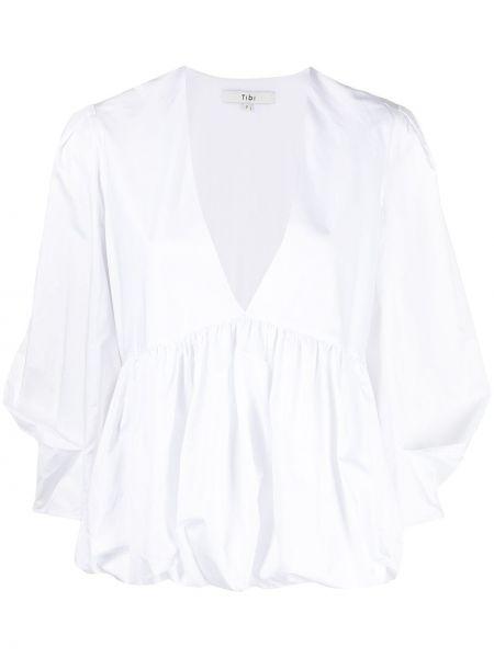 Biała bluzka bawełniana z dekoltem w serek Tibi