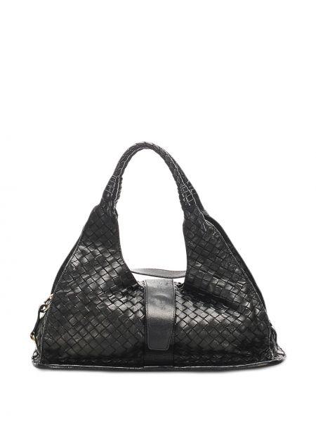 Кожаная черная сумка на плечо с подкладкой Bottega Veneta Pre-owned