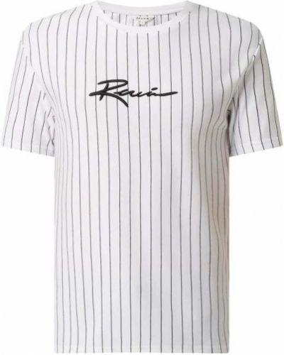 Biały t-shirt w paski bawełniany Review