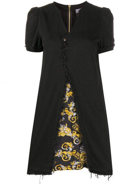 Хлопковое черное асимметричное платье мини с V-образным вырезом Versace Jeans Couture