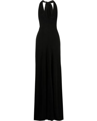 Черное платье макси без рукавов Halston Heritage