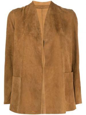 Прямой кожаный коричневый удлиненный пиджак Salvatore Santoro