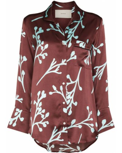Коричневая шелковая рубашка Asceno