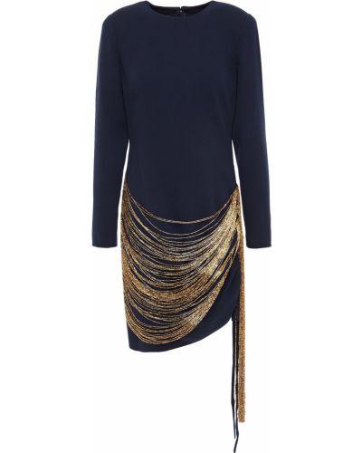 Шерстяное платье мини - синее Oscar De La Renta
