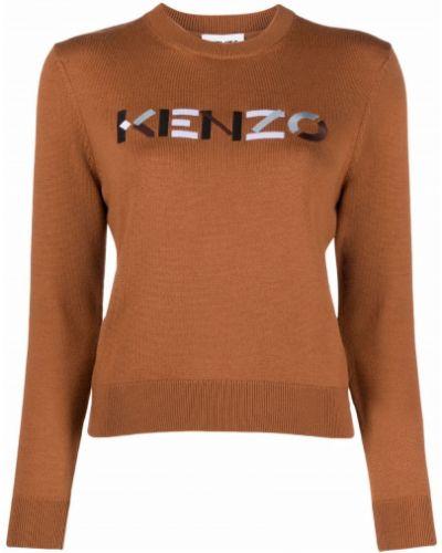 Джемпер с вышивкой - коричневый Kenzo