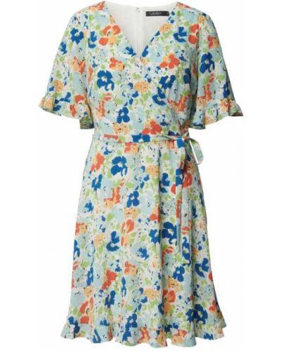 Niebieska sukienka midi rozkloszowana z dekoltem w serek Shiwi