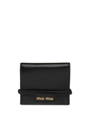Skórzany czarny portfel z logo z kieszeniami Miu Miu