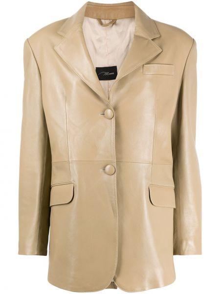 Однобортный кожаный пиджак с карманами Manokhi