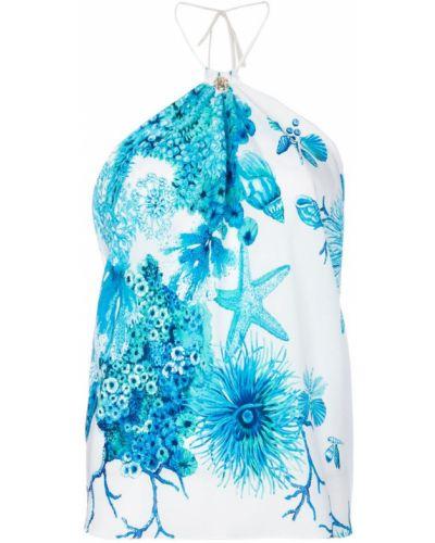 Синий топ халтер Roberto Cavalli
