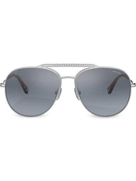 Прямые серебряные солнцезащитные очки металлические Miu Miu Eyewear