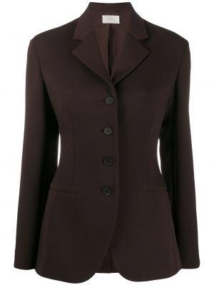 Коричневый приталенный удлиненный пиджак с карманами The Row