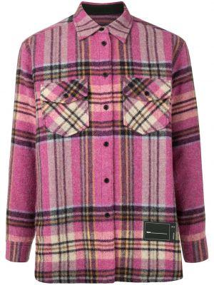 Розовая классическая рубашка с воротником с сеткой на пуговицах We11done