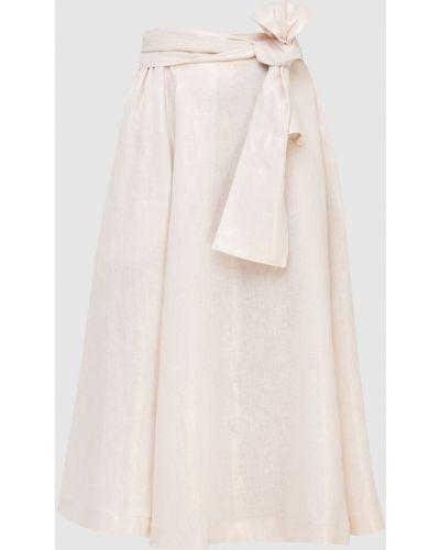 Льняная юбка миди - бежевая Max & Co