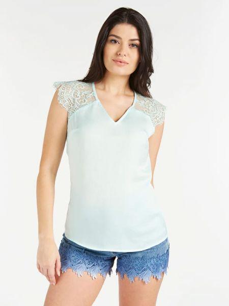 Bluzka koronkowa - turkusowa Guess