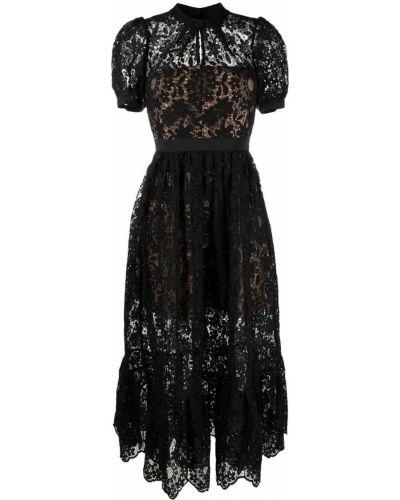 Кружевное черное платье миди с короткими рукавами Self-portrait