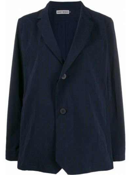 Однобортный синий классический пиджак с подстежкой Issey Miyake