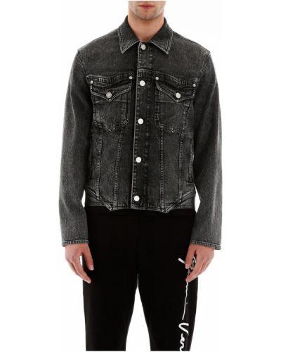 Bawełna niebieski bawełna kurtka jeansowa Versace
