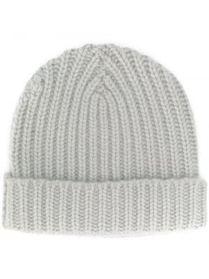 Кашемировая серая теплая шапка бини в рубчик Warm-me