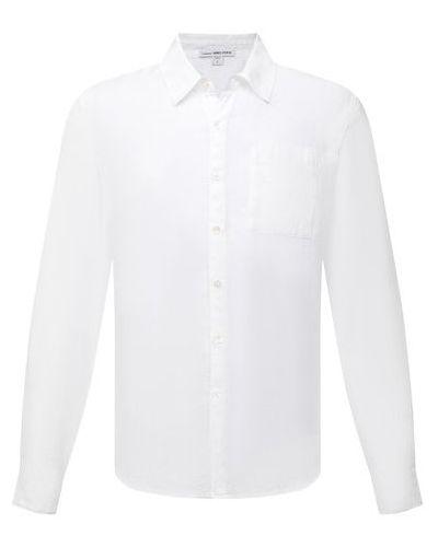 Льняная рубашка с длинным рукавом - белая James Perse